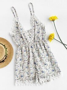 Ditsy Print Crochet Applique Trim Romper
