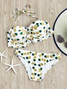 Ensemble de bikini imprimé des ananas