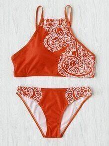 Retro Flower Print Beach Bikini Set