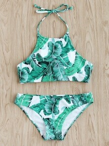 Jungle Print Halter Bikini Set