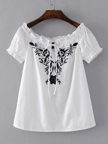 Boat Neckline Frill Trim Embroidery Top
