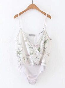 Cami Straps Floral Print Bodysuit