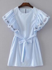 Ruffle Cuff Tie Waist Embroidery Dress