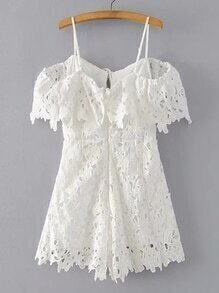 Cold Shoulder Tie Back Lace Playsuit