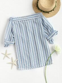 Off Shoulder Stripe Knot Sleeve Blouse