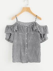 Open Shoulder Gingham Frill Trim Button Front Blouse