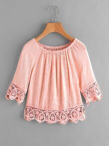Boat Neckline Lace Hem Pleated Blouse