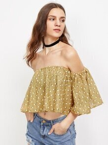Off Shoulder Printed Random Crop Top