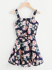 Floral Print Random Cut Out Waist Cami Dress