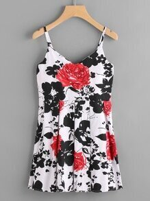 Floral Print Box Pleat Cami Dress