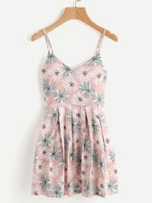 Printed Random Box Pleat Cami Dress
