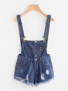 Distressed Fray Hem Denim Dungaree Shorts
