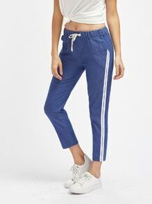 Side Stripe Drawstring Waist Crop Pants