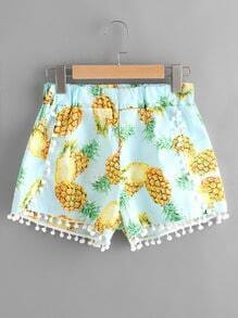 Pineapple Print Random Pom Pom Trim Shorts