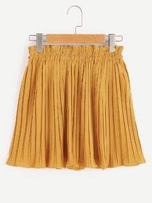 Elastic Shirred Waist Pleated Shorts