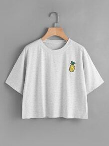 Pineapple Embroidered Slub Tee