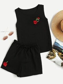 Floral Embroidered Tank Top And Drawstring Shorts Set