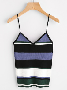 Color Block Ribbed Cami Top