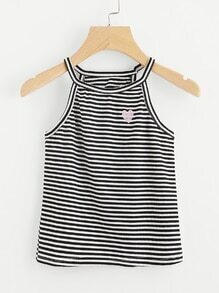 Love Embroidered Striped Cami Top