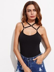 Ring Strappy Detail Criss Cross Cami Top