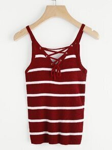 Striped Eyelet Lace Up Back Cami Top