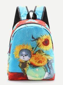 Cartoon Print Canvas Backpack