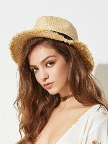 Raw Trim Straw Hat With Contrast Band