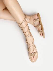 Rhinestone Detail Lace Up Sandals