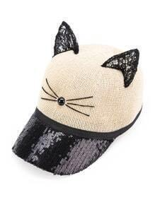 Lace Cat Ear Design Baseball Cap