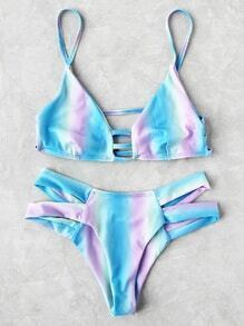 Ombre Ladder Cutout Bikini Set