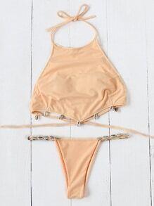 Shell Detail Halter Bikini Set