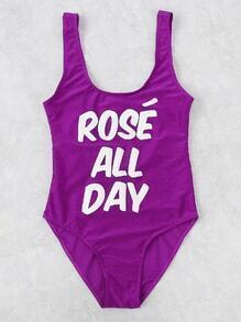 Slogan Print Scoop Neck Swimsuit