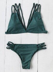 Braided Detail Strappy Back Triangle Bikini Set