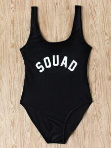 Slogan Print Scoop Neck Beach Swimsuit