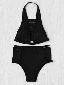 Ladder Cutout High Waist Bikini Set