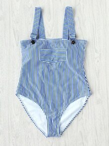 Vertical Striped Overall Swimsuit