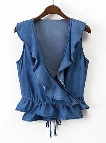 Layered Ruffle Tie Back Denim Top