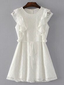 Tie Waist Ruffle Trim Lace Dress