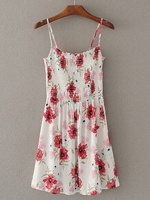 Shirred Flower Print Cami Dress