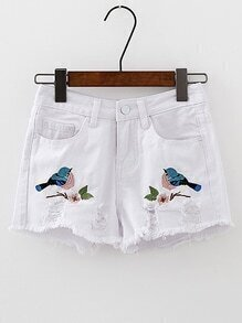 Bird Embroidery Ripped Denim Shorts