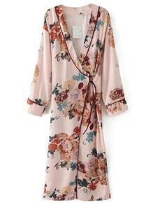 Floral Print Tie Waist Warp Dress