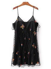 Polka Dot Embroidery Mesh Cami Dress