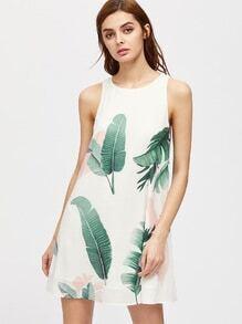 Foliage Print Buttoned Keyhole Back Tank Dress