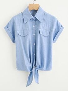 Knot Front Fake Pocket Cuffed Shirt