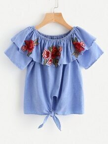 Boat Neckline Layered Rose Applique Knot Front Blouse