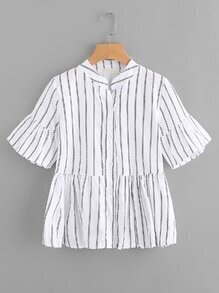Flute Sleeve Striped Frill Hem Single Breasted Blouse