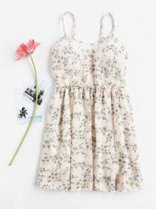 Floral Print Shirred Back Cami Dress
