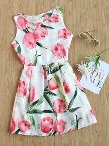 Tulip Print Random Box Pleat A Line Dress