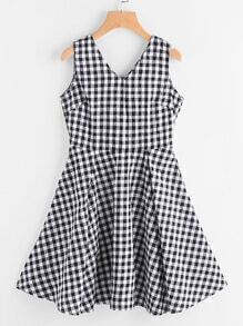 Double V Neckline Gingham Print Flare Dress