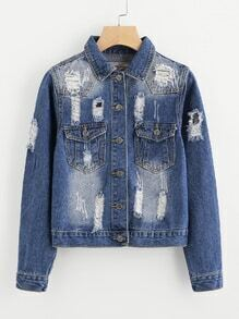 Rip Detail Denim Jacket